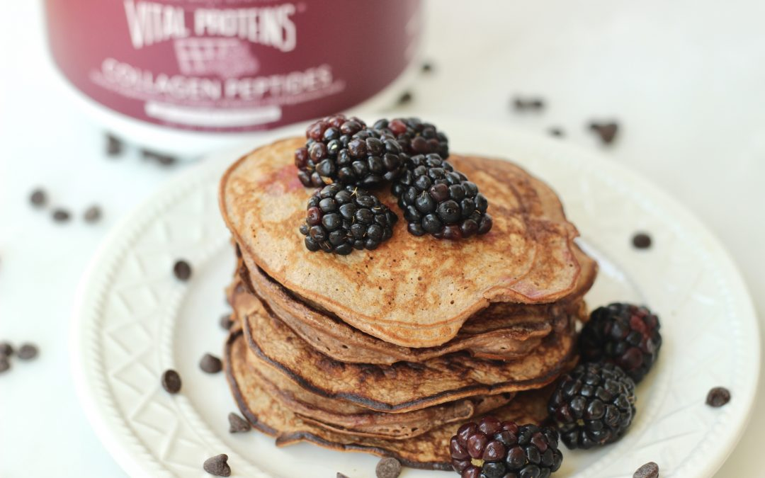 Dark Chocolate and Blackberry Protein Pancakes